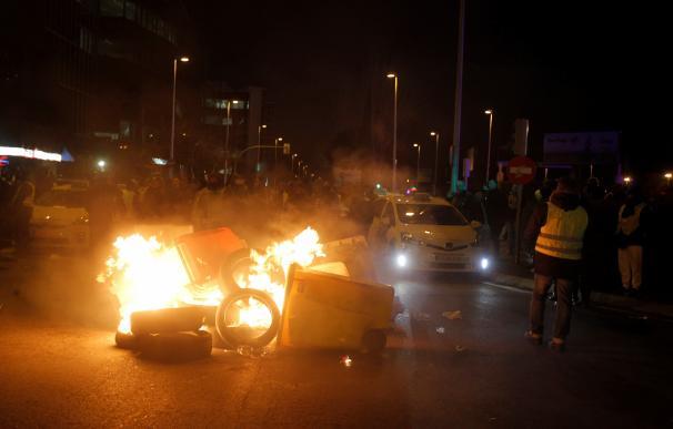 Tercera jornada de huelga de taxis en Madrid.