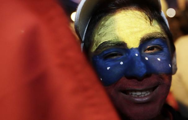 Un manifestante a favor de Juan Guaidó como presidente de Venezuela.