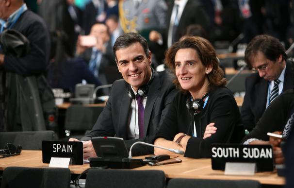 Pedro Sánchez y Teresa Ribera, en la cumbre del Clima de Katowice (Polonia).