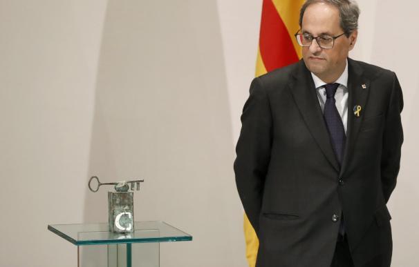 El presidente de la Generalitat, Quim Torra, en el anuncio del ganador del Premio Internacional Catalunya. EFE/Andreu Dalmau.