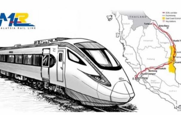 El ECRL tenía previsto unir los 688 kilómetros que separan el Puerto de Klang con la ciudad de Pengkalan Kubor