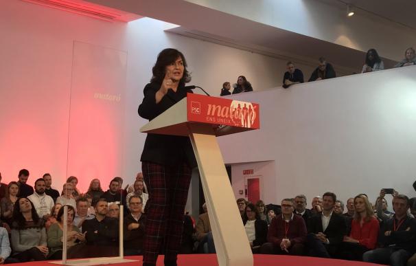 La vicepresidenta del Gobierno, Carmen Calvo, defendió hoy las negociaciones del Gobierno central con la Generalitat catalana (Foto: PSC)