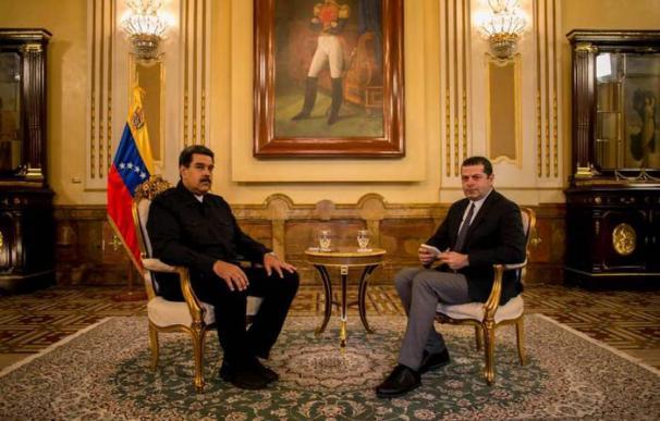 Instantánea de la entrevista de Nicolás Maduro con la filial de CNN en Turquía