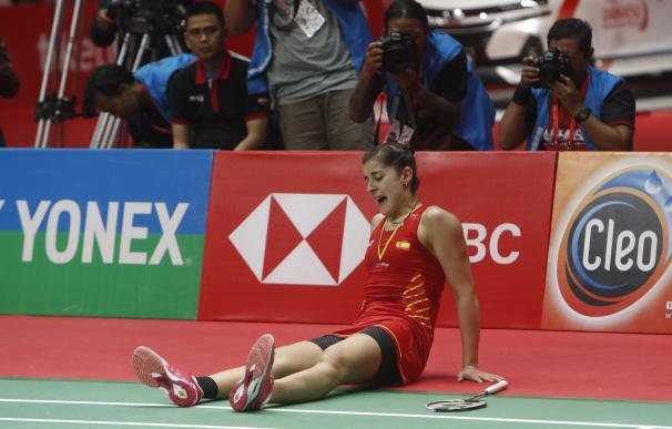 Carolina Marín cayó lesionada en la final cuando iba ganando.