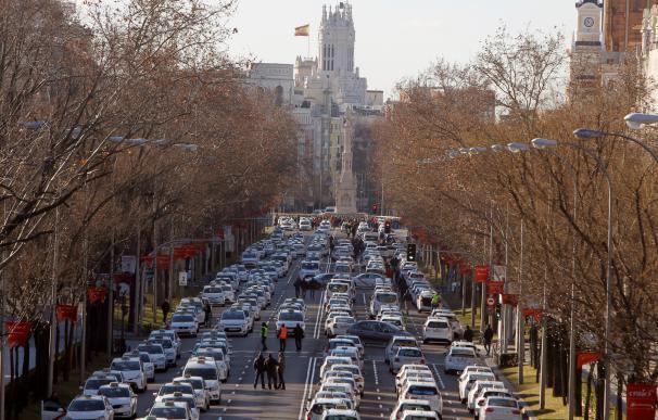 Los taxistas de huelga en la Castellana