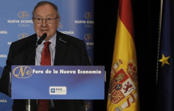 El presidente de la Cámara de Comercio de España, José Luis Bonet, durante su intervención este martes en Madrid en el Foro Nueva Economía