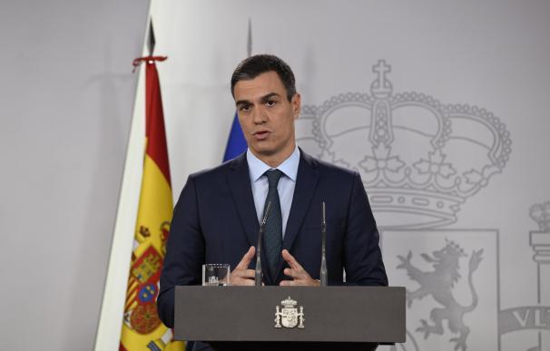 El presidente del Gobierno, Pedro Sánchez, durante la rueda de prensa ofrecida este sábado en el Palacio de la Moncloa