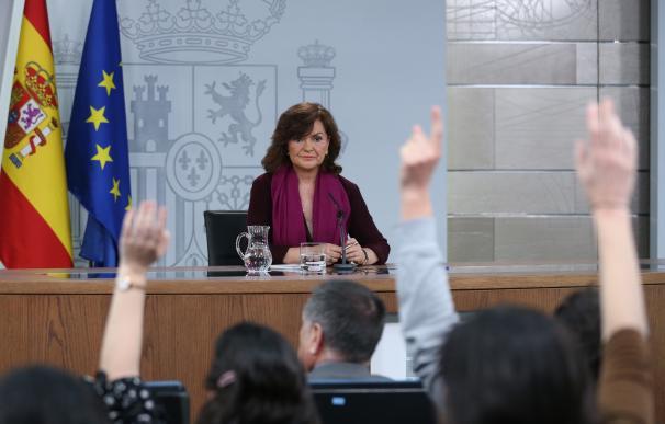Carmen Calvo comparece en Moncloa