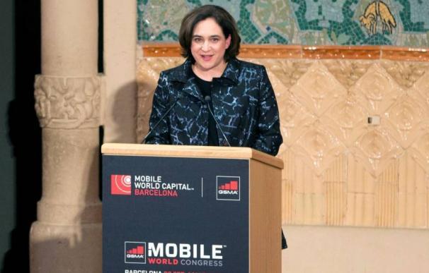 Imagen de la alcaldesa de Barcelona Ada Colau en la inauguración del último Mobile World Congress.
