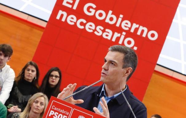 El presidente del Gobierno y secretario general del PSOE, Pedro Sánchez, durante su intervención en el acto de presentación del candidato a la alcaldía de Santander (Foto: PSOE)