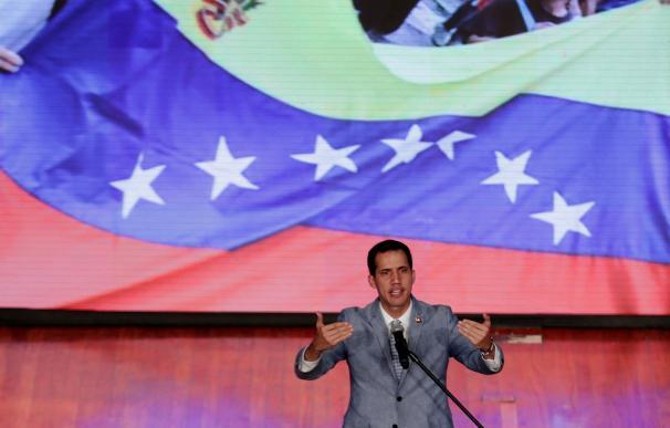 Juan Guaidó este viernes, en el aula magna de la Universidad Central de Venezuela (UCV), en Caracas (Venezuela). EFE/ Leonardo Muñoz