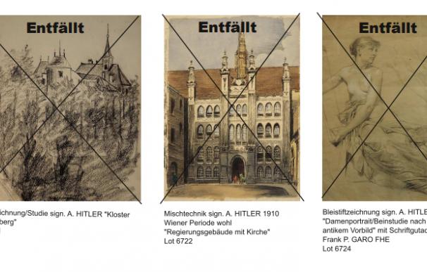 Varias pinturas que la casa de subastas atribuía a Hitler y no se subastaron (Foto: Weidler)
