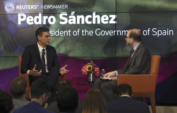 El presidente del Gobierno, Pedro Sánchez, en el foro Reuters.