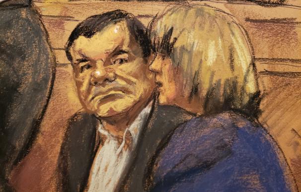"""Reproducción fotográfica de un dibujo realizado por la artista Jane Rosenberg donde aparece el narcotraficante mexicano Joaquín """"El Chapo"""""""