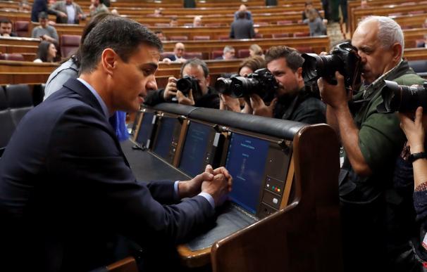Pedro Sánchez a su llegada al debate de Presupuestos en el pleno del Congreso