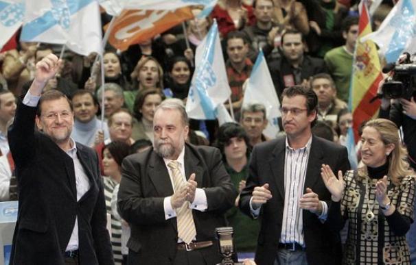 Antonio Erias junta a Rajoy, Feijóo y Ana Pastor en un mitin en Galicia