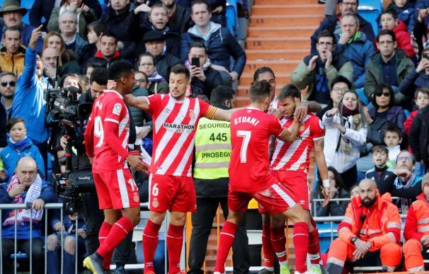 Portu celebra el gol de la victoria para el Girona.