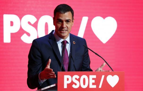 Pedro Sánchez durante la presentación de la precampaña del PSOE