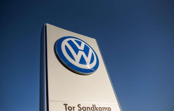 The logo of German car maker Volkswagen is seen at