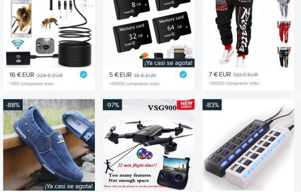 Algunos de los productos que se pueden comprar hoy en Wish.