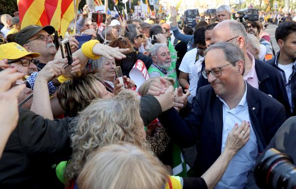 El presidente de la Generalitat, Quim Torra (d) asiste a la manifestación este sábado en Madrid. EFE/J.J Guillén