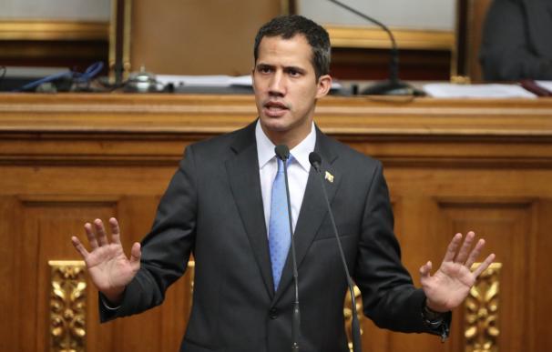 El presidente de la Asamblea Nacional de Venezuela, Juan Guaidó, durante una sesión en la sede del Parlamento