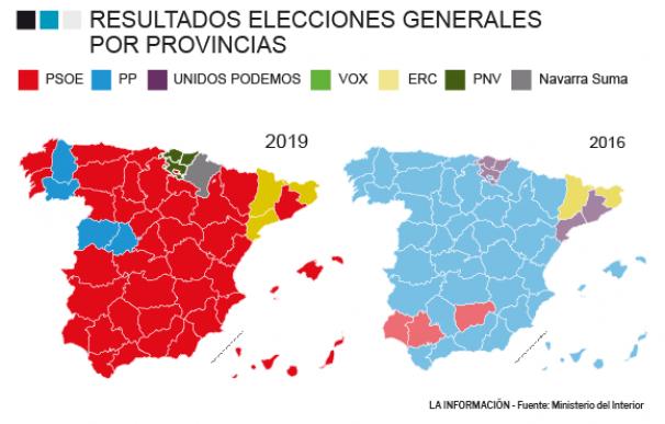 Mapa resultados electorales por provincias