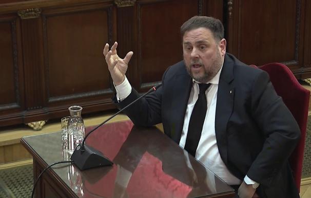 Oriol Junqueras durante la tercera jornada del juicio del procés