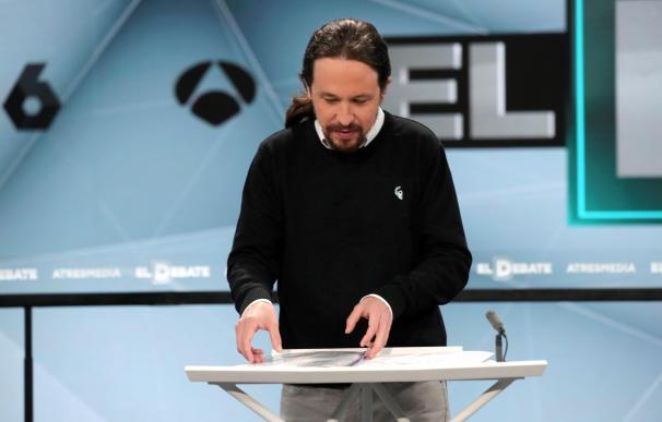 Pablo Iglesias, en el debate de Atresmedia