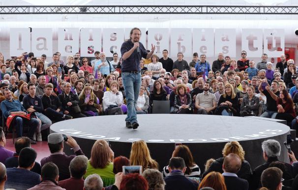 Pablo Iglesias celebra un mitin con afiliados y simpatizantes del partido en Valladolid