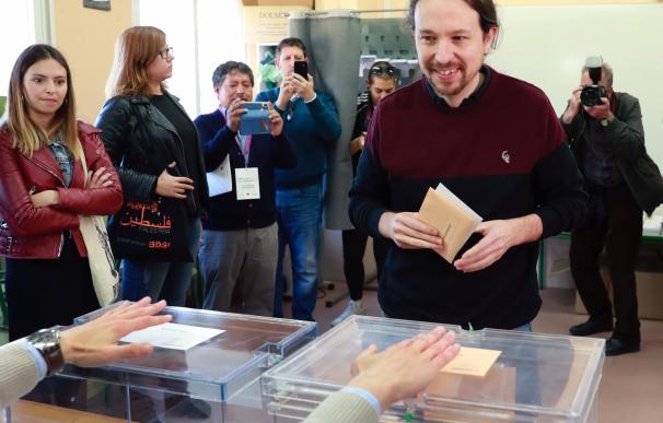 Pablo Iglesias, cuando votó el 28 de abril