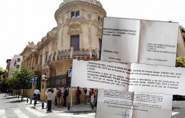 Fachada de la SGAE y carta de preaviso judicial por impago a un restaurador.