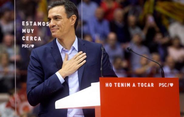 Pedro Sánchez, en el mitin de Barcelona, PSOE