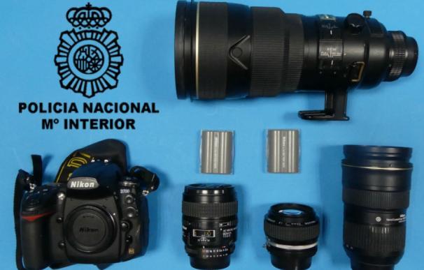 Equipo fotográfico sustraído. / Foto: Policía Nacional