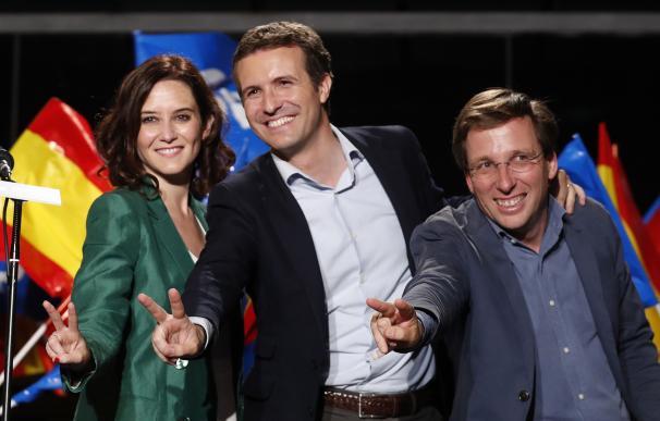 El presidente del Partido Popular Pablo Casado (c) y los candidatos del PP a la Comunidad de Madrid, Isabel Díaz Ayuso, y al Ayuntamiento, José Luis Martínez-Almeida, celebran los resultados electorales en la sede de los populares, en Madrid.