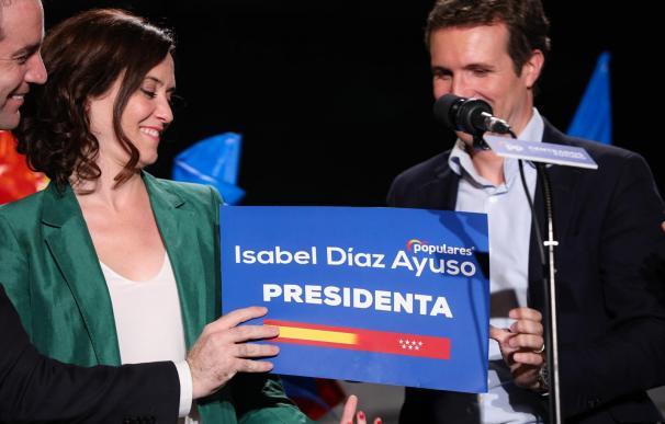 Díaz Ayuso da por hecho que gobernará en Madrid aunque falta negociar con Cs