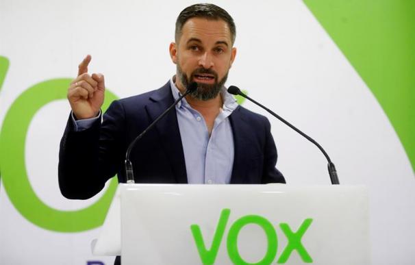 Santiago Abascal, en rueda de prensa en la sede de Vox