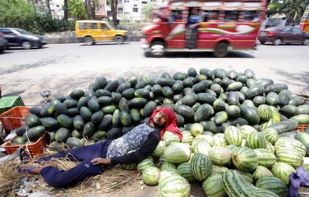 Un hombre duerme sobre frutas en India