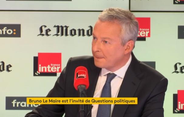El ministro francés de Economía y Finanzas, Bruno Le Maire durante la entrevista con France.info