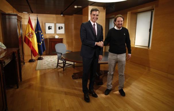 Sánchez e Iglesias en Moncloa