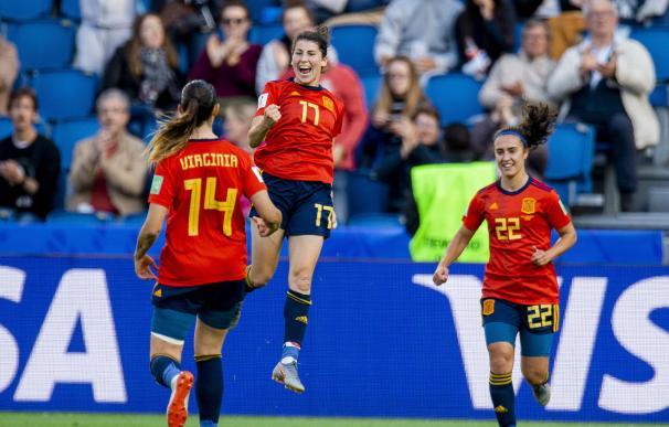 Lucia Garcia celebra el tercer tanto de la Selección española ante Sudáfrica. /EFE