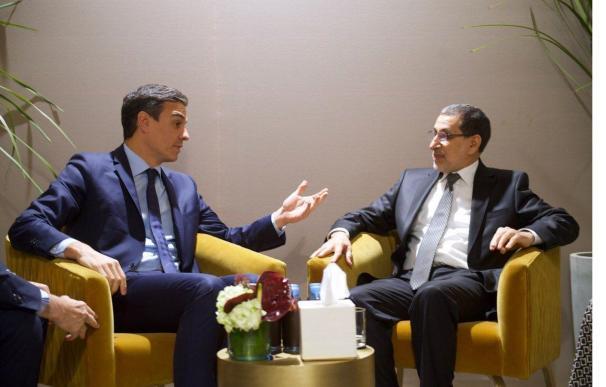 Pedro Sánchez y el primer ministro de Marruecos, Saadeddine Othmani