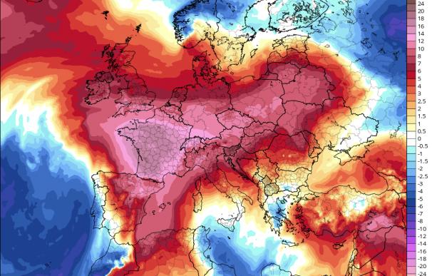 Fotografía del mapa de la ola de calor en Europa.