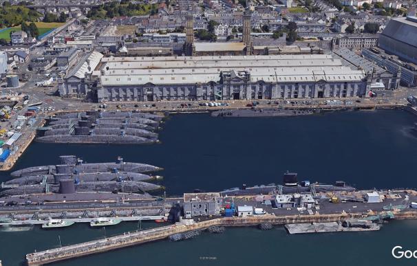 Submarinos nucleares británicos fondeados en Devonport. /Google Earth