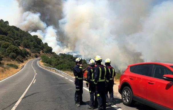 Un total de 348 profesionales tratan de controlar el incendio que afecta a los municipios madrileños de Cadalso de los Vidrios y Cenicientos. /EFE/Emergencias 112
