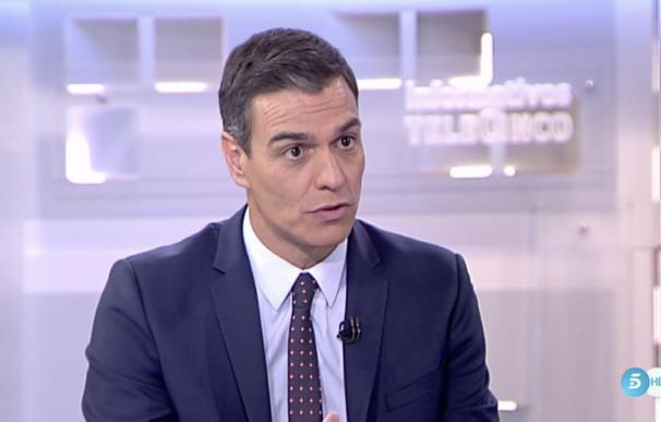 Pedro Sánchez durante su entrevista con Pedro Piqueras en Telecinco. /Mediaset