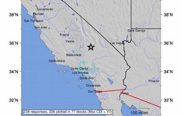 Mapa de la ubicación del epicentro del seísmo de California. /EFE/EPA/USGS
