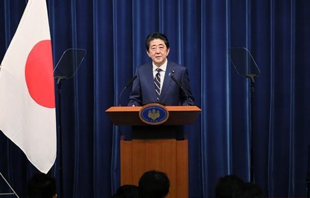 El primer ministro de Japón, Shinzo Abe, en una comparecencia ante la prensa
