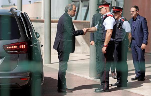 Quim Torra, durante su visita a los políticos presos en la cárcel de Lledoners