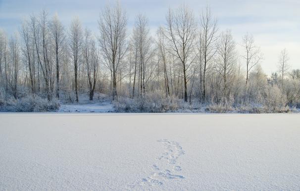 Un lago helado en Siberia